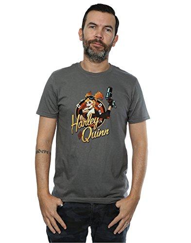 DC Comics hombre Bombshells Harley Quinn Badge Camiseta XXX-Large Carbón