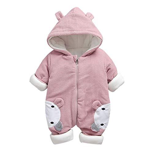 Livoral Babywinterjacke, neugeborenes Kleinkind, Baby, Mädchen, mit Kapuze, Overall, Overall, Kleidung(Rosa,5-10 Monate)