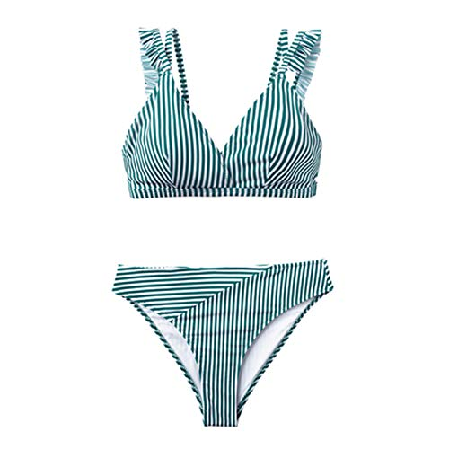 Cyan and White Stripe Double Straps Ruffle Bikini Sets Women Sweet Two Pieces Swimsuits Girl Beach Bathing Suits Green XL -
