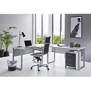 BMG-Moebel.de Büromöbel komplett Set Arbeitszimmer Office Edition in Lichtgrau/Anthrazit Hochglanz (Schreibtisch mit Rollcontainer)