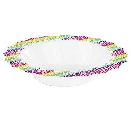 Elegantes Einweg Kunststoff Geschirr Teller, hart und wiederverwendbar, real China Look-19,1cm Zoll Schalen-12Zählen mehrfarbig (Farbige Servieren Kunststoff-schalen)