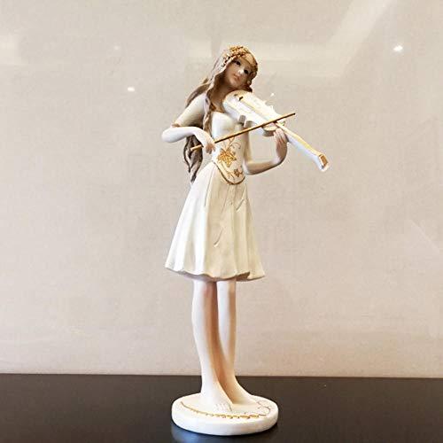 Bellopyn Dekorative Verzierungeneuropäische Musikinstrumentschönheitsskulptur Passend Für Schlafzimmerhauptdekoration-Geburtstagsgeschenk@Geige Spielen