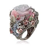 Homeofying - Anillos apilables para Mujer, diseño Ovalado con Piedras de Luna, Color Morado, Bella (Beauty), Gemstone, US 8*