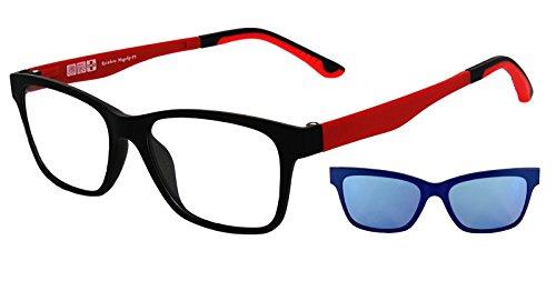 Sonnenbrille für Brillenträger Rainbow MagClip®/Sonnenbrille mit Stärke/Polarisierte Magnetische Clip-Aufsatz/RMCG (Polarisierte Revo Blau/RMCRED)