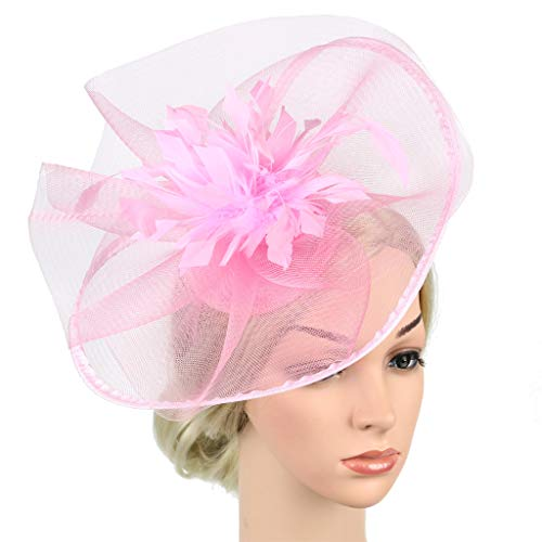 QIMANZI Frauen Mädchen Fascinators Hair Clip Haarnadel Hüte Hochzeitskirche Kopfbedeckung Feder Cocktail Hochzeit Tea Party Hat(Rosa)