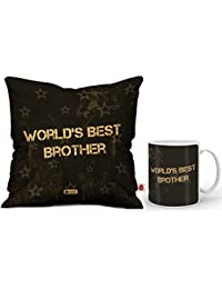 Indigifts Rakhi Gifts for Brother World Best Bro Quote Coffee Mug 330 ml & Cushion Cover 12x12 inch with Filler - Rakshabandhan Gifts for Brother, Birthday Gifts for Brother, Raksha Bandhan Gifts