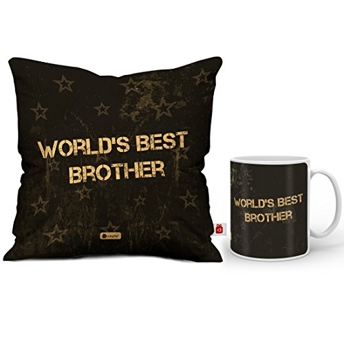 Indigifts Rakhi Gifts For Brother World Best Bro Quote Coffee Mug 330 Ml Cushion Cover