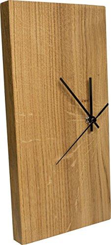 Wanduhr Eiche Massiv | Echt-Holz Uhr als Standuhr & Tisch-Uhr verwendbar | Schlicht & Modern