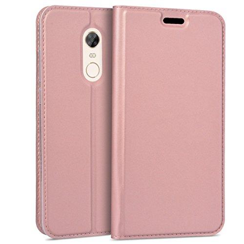 Smart Legend Funda Xiaomi Redmi 5 Plus, Case Cover de Cuero PU Piel Billetera con Ranuras Correa para Tarjetas Soporte Plegable Cierre Magnético - Oro Rosa