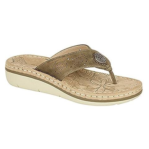 Boulevard Womens/Ladies Punched Toe Post Mule Sandals (6 UK) (Bronze)