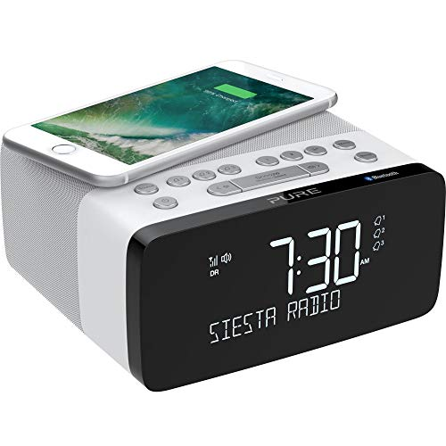 Pure Siesta Charge Bluetooth Radiowecker Digital mit Ladepad (DAB/DAB+ Digital- und UKW-Radiowecker, Bluetooth, USB, drahtlose Handy-Ladestation, 40 Senderspeicherplätze, AUX, USB), Polar