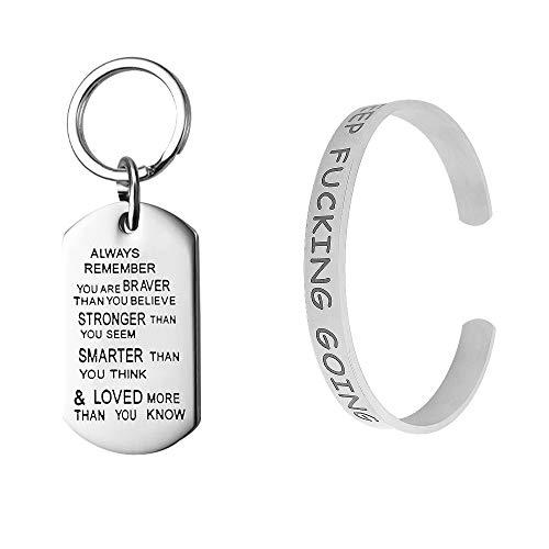 FineGood 2 Stück inspirierendes Armband mit Ellipse Schlüsselanhänger, Edelstahl Gravur Manschette Armreif Personalisiertes Silber Armband für Frauen Geschenke
