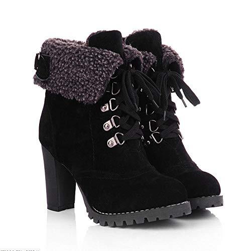 LEXUPE Damen Schuhe Frauen Plateauschuhe Schnürstiefeletten High Thick Short Boots Schuhe Freizeit Stiefeletten High Heel Stiefel Sgünstige Stiefeletten Wildleder Stiefeletten