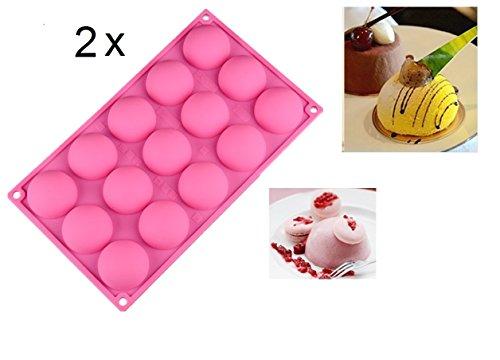 SWEET CANDY BAKERY 2 x mittel-große Halbkugeln 5cm Pralinenform aus Silikon Eiswürfelform Back Form Halbkugeln Ofenform Backofenform Kugel-form Schokoladen-form