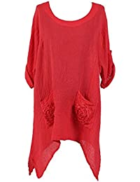 New Ladies Italian Quirky Lagenlook Top with Pockets Women Pocket Tunic Top Plus Sizes