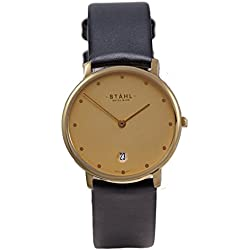 Stahl SWISS MADE Wrist Watch Model: ST61471 - Stainless Steel - Extra Large 36mm Case - 12 Dot Gold Dial