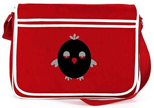 Shirtstreet24, Bored Owl, Eule Natur Retro Messenger Bag Kuriertasche Umhängetasche Rot
