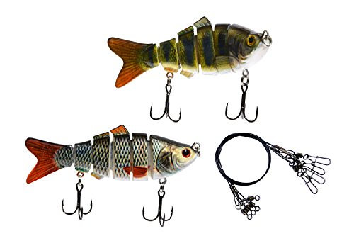 Petri's Catch: Hardbait Wobbler 2er Set | 10cm Barsch und Rotauge | Owner Drillinge | 4 Stahlvorfächer | Hecht, Zander, Barsch, Wels -
