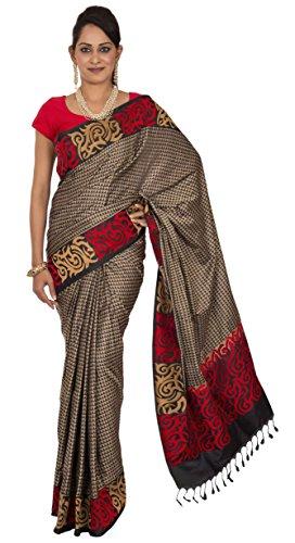 25d6d4c734 Rajarams Geometric Pure Silk Banaras Saree with Unstitched Blouse – Black