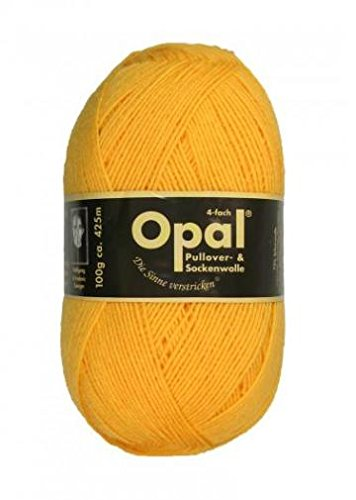 Opal uni 4-fach - 5182 sonnengelb - 100g Sockenwolle -