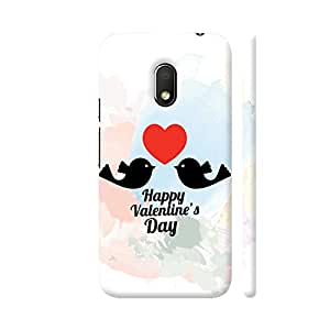 Colorpur Moto G4 Play Cover - Two Black Birds Love On Red Heart Printed Back Case