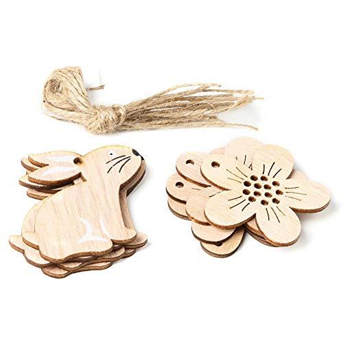 Wovemster Decorazioni Pasquali – JM01126 Coniglio e Fiori In Legno, Ciondolo Stile Nordico Decorazioni per La Casa 8 Pezzi/Pacco - 5