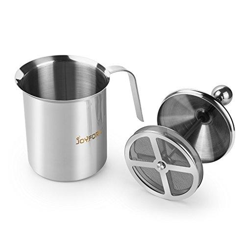 ~ 400 ml Montalatte, joyfork schiumalatte in acciaio inox doppia rete manuale Latte Creamer Schiuma di latte miglior prezzo
