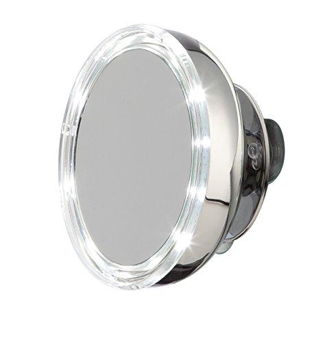 möve Mirrors LED Spiegel mit 5fach Vergrößerung und Saugnäpfen (inkl. Batterie) ø 13 cm aus Edelstahl, silver
