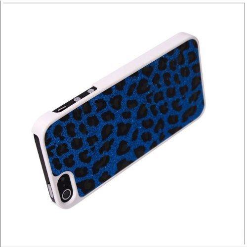 Madcase Apple iPhone SE / 5S / 5 Leopard Design Muster Schutzhülle Hardcase (Harte Rückseite) Schale Cover Hülle Tasche inkl. Displayschutzfolie und Stylus Touch pen - Blau und Schwarz White Bumper & Purple Back