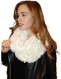 Women's Luxurious Cream Faux Fur Snood Infinity Scarf