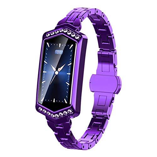 RNMCAF Diamant-intelligente Uhr-Frauen-Sport IP67 imprägniern Bluetooth für Androides IOS, PurplePurple (Sport-uhr Frauen Imprägniern)