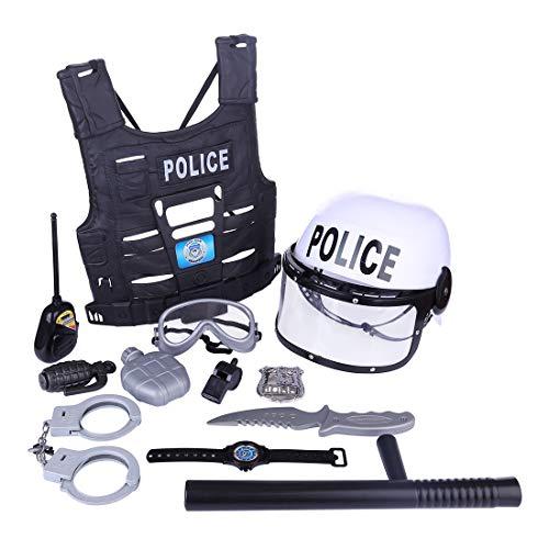 izei Rolle Spiel Kostüm Zubehör Party Requisiten, Kinderkostüm Polizei mit Handschellen und Polizei Helm,Schlagstock, Handschellen, Walkie-Talkies usw. ()