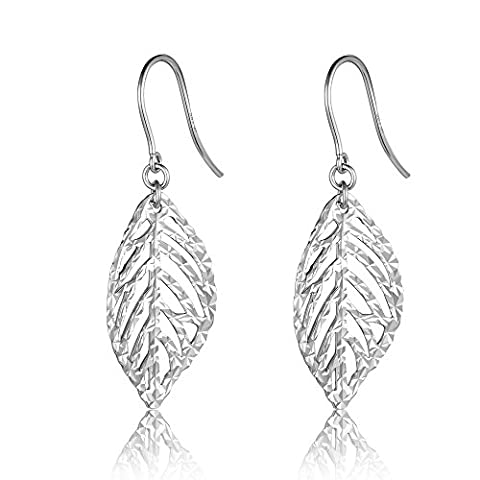 14ct 585 White Gold Bohemia Hollow Leaf Diamond-Cut Shepherd Hook Earrings, Jewellery Gifts for Women Girls Teens