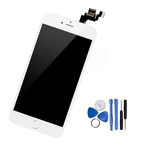 Yodoit Für iPhone 6 LCD Touchscreen Digitizer Front Komplettes Glas Display Retina Reparatur Ersatz Bildschirm Weiß mit Home Button, Hörmuschel,Frontkamera& Näherungssensor+Werkzeugset (4.7 - Iphone 6 Lcd Plus Austausch
