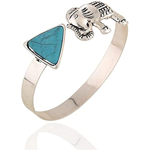 Nuevo triángulo de elefante turquesa de pulseras de metal , kong lan