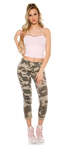 Instyle moderne Jeans mit Camouflage Muster, mit Seiten- und Gesäßtaschen, mit Seiten- und Gesäßtaschen, Figurbetonend, Farbe: Army Army