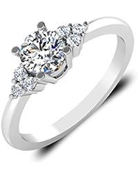 IskiUski White Gold And American Diamond Ring For Women - B075VHF72B