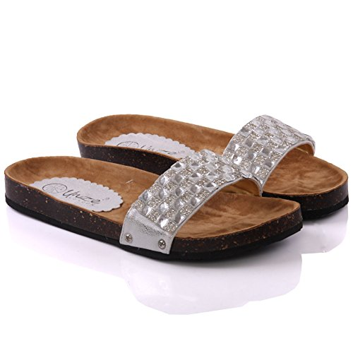 Unze Für Frauen Marlin ' Dekoriert Sommer Slippers - 138-1378-A Silber