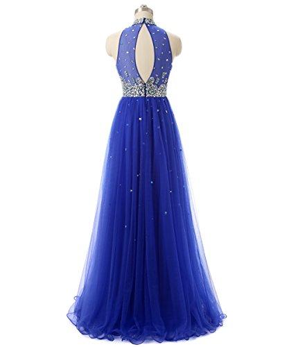 Callmelady Col Haut Tulle Robe de Soirée Longue 2017 Fête Gown Femme Bleu Marin