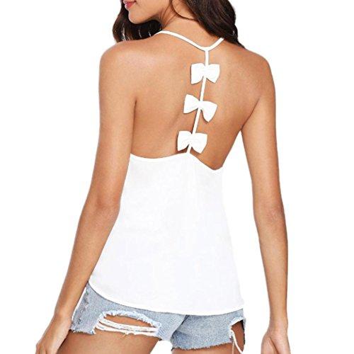 Upxiang Damen Bluse Tops Butterfly Vest Bluse O-Neck sexy zurück hohlen Weste Hemd Solid colour Tank Top (XL, Weiß) (Top Shirt Butterfly Tank)