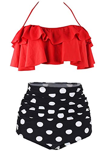 AOQUSSQOA Damen Badeanzug Rüschen Hals Hängen Bikini Sets Zweiteilige Bademode mit Hoher Taille Strandkleidung (EU 46-48 (XL),Rot)