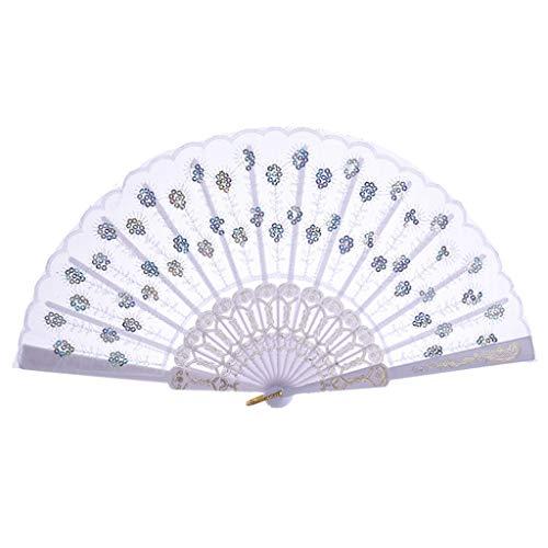 Sllowwa Handfächer Pfau Pattern Pailletten Stoff Hand Faecher Faltfaecher Hand Fan Fächer Sommer Party Hochzeit Hand Fan aus Kunststoff und Spitze