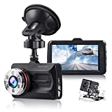 【Upgraded 720P Rear Camera】TOGUARD Dual Dash Cam Full HD 170° Wide Angle 3""