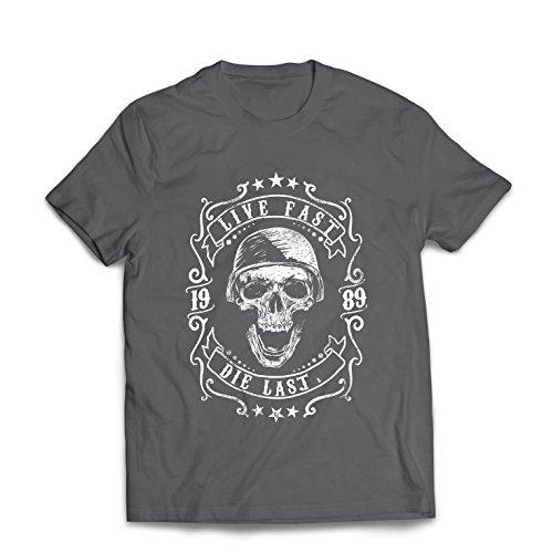 Maglietta da uomo vivi veloce - muori l'ultimo - citazioni in bici, abbigliamento moto, amore da guidare, ottimo regalo per motociclista (x-large grafite