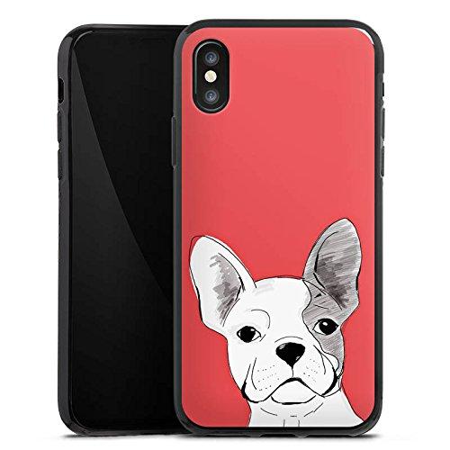 Apple iPhone X Silikon Hülle Case Schutzhülle Französische Bulldogge Hund Dog Silikon Case schwarz
