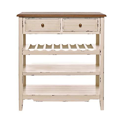BUTLERS Cabott Cove Serviertisch im Landhausstil mit 2 Schubladen - 8 x 35 x 88 cm - Küchentisch - Shabby Weißes Holz