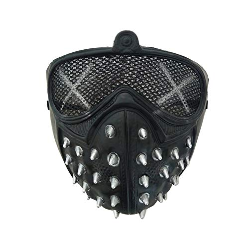 Erduo Halloween Punk Devil Cosplay Anime Bühnenmaske Ghost Steps Street Maskerade Death Masken Watch Dogs Rivet Party Gesichtsmasken - schwarz