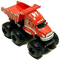 Maisto Fresh Metal Builder Zone Quarry Monster Red Brush Fire Dump Motorized 6 Wheeler Truck