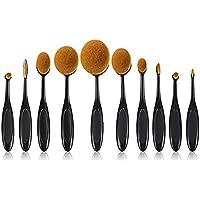 Trifycore Cepillo de dientes conjunto de cepillo de maquillaje, cepillo de maquillaje Fibra de herramienta natural profesional Facial sintético (10PCS)