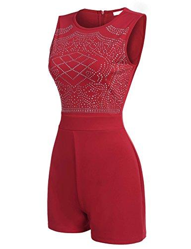 ZEARO Damen Kurz Overall Catsuit Jumpsuit Rot